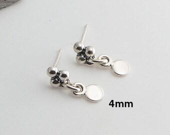 4mm Tiny Stud Silver Earrings Tiny Earrings, Modern Jewelry, Round Earrings, Disc Earrings, Minimalist Earrings, Handmade Earrings