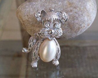 Vintage rhinestones jelly belly dog brooch