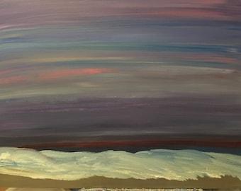 18x24 Dark Ocean at Sunset