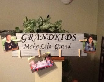 Picture display sign for grandchildren pictures, grandparent gift