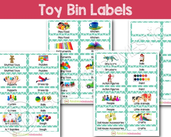 Toy Bin Labels Turquoise Printable For Classroom Or