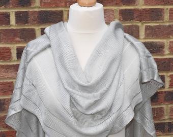 Bridal shawl,Silver Grey Silky Wedding Shawl Wrap, Elegant Silky Shawl,Bridesmaids Wrap, Evening Shawl,Bridal Cover up