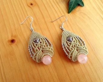Rose quartz macrame earrings, macrame jewelry, boho earrings, macrame stone, gemstone earrings, rose quartz jewelry, hippie earrings