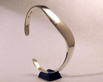 Slender Sterling S Curve Cuff Bracelet, Smooth