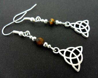 A pair of tibetan silver & tigers eye bead celtic knot dangly earrings. new.