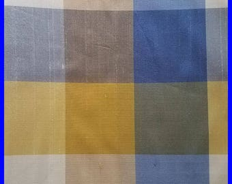 Large Plaid SILK Fabric Remnant 100% Silk Gold Blue Shades