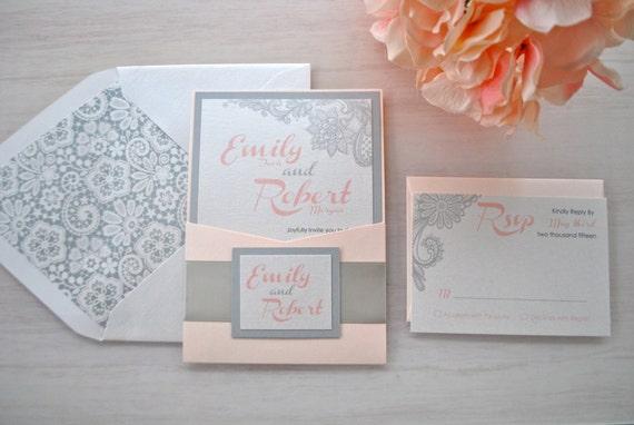 Blush And Ivory Wedding Invitations: Blush Grey And Ivory Lace Pocket Wedding Invitation-Sample