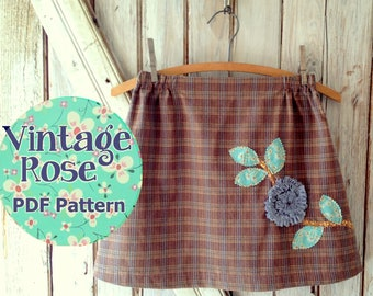 Vintage Rose Skirt - Girl's Skirt PDF sewing pattern. Girl Sewing Pattern. PDF Pattern. Toddler Pattern. Sizes 1-10