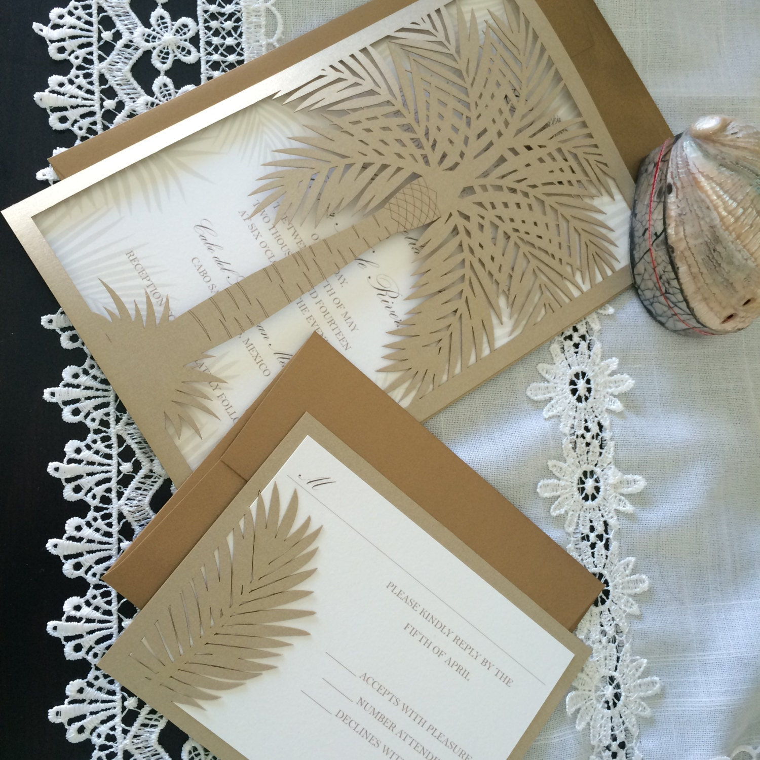 Custom Laser Cut Wedding Invitation Palm Tree Tropical