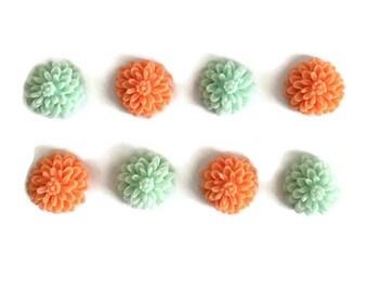 Floral Magnets + Tin / Flower Magnets / Fridge Magnets / Refrigerator Magnets / Coral and Mint Magnets / Coral Magnets / Mint Magnets