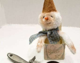 ON SALE CIJ,  Snowman Doll, Ice Cream Party Decor, Winter Decor Shelf Sitter, Kitchen Decor, Christmas In July
