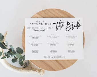 Call Anyone But the Bride Template Phone Number DIY template Wedding Contact Card Wedding Information Card Wedding guest kit #WP40