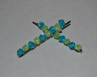 Blue and Green Beaded Barrette