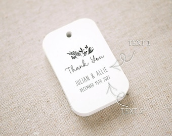 Romantic Thank You Floral Wedding Favor Tags, Personalized Gift Tags, Bridal Shower, Thank you tags, Party Tags, Set of 24 (Item code: J750)