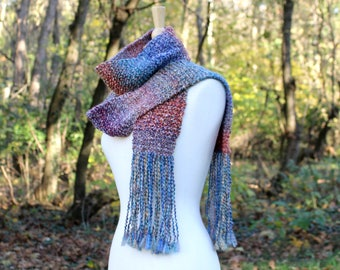 Rainbow scarf, knit scarf with fringe, knit neck warmer, tassel scarf, warm knit scarf, soft scarf, gift for her, women winter scarf