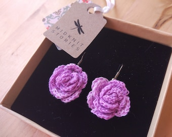 Lilac rose crochet earrings