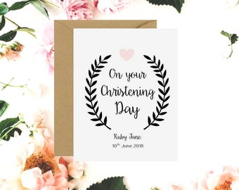 Personalised On Your Baptism Day Card | On Your Christening Day Card | Girl Baptism Card | Boy Baptism Card