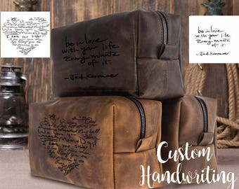 Personalized fathers day gift custom leather men dad gift leather dopp kit bag  groomsmen gift toiletry bag personalized leather dopp kit
