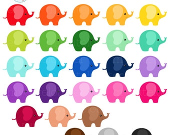 Rainbow Elephants Clipart Set - clip art set of cute elephants, rainbow, animals - personal use, small commercial use, instant download