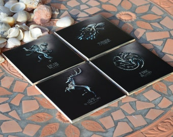 """Game of Thrones coasters 4""""x4"""" & cork! Great Gift, souvenirs ! Set of 4!"""