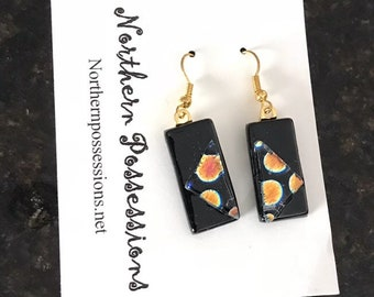 Funky Abstract Dichroic Glass Earrings