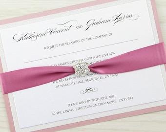 SAMPLE * Sparkle Parcel Wedding Invitation Satin Wrap and Diamante