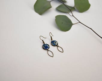 dangling earrings in blue floral liberty fabric, nickel free brass