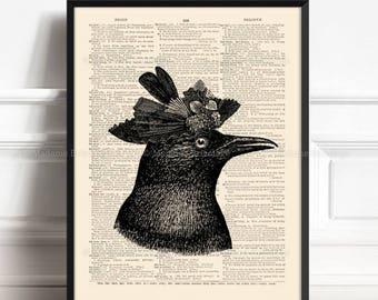 Black Raven, Black Raven Print, Gothic Black Bird, Mom Decor Gift, Nursery Poster Bird, Father Gift Poster, Victorian Lady, Home Decor 414