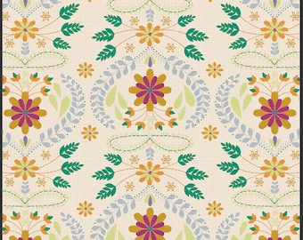 Floral Fabric By the Yard, Embroidery's Fortune in Amber, Golden Spirit Palette - Bijoux - Bari J - Art Gallery Fabric, Gold, By the Yard
