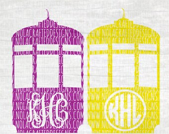 Street Car Monogram Frame Svg Cut File - Mardi Gras Svg Cut File - Mardi Gras Monogram Svg Cut File - New Orleans Svg Cut File - Mardi Gras