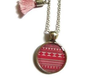 AZTEC PENDANT - Pink necklace - bridesmaids gift - Children's Necklace - girls necklace - kids jewellery