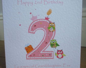 Personalised 2nd Birthday Owls Card available in pink or blue any relation