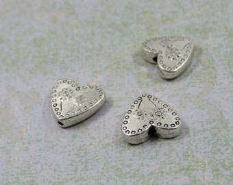 SET of 10 flower fantasy (F17) silver metal heart bead charms