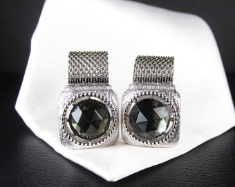 Vintage Silver Tone Swank Wrap Cuff Links with Smoky Stones