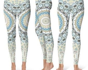 Boho Yoga Pants, Beach Leggings, Printed Art Tights, Mandala Yoga Pants, Bohemian Leggings, Patterned Tights, Footless Tights