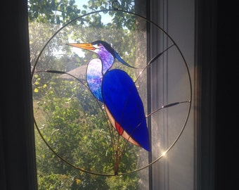 Great Blue Heron stained glass suncatcher panel