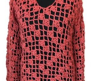Copper Open Crochet Sweater