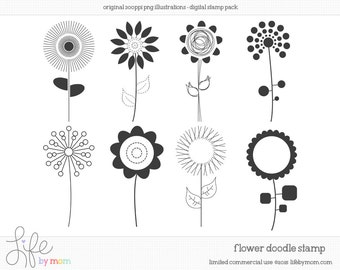 Doodle Flowers Clipart, Illustrations, Digital Stamp, Clip Art, Doodle, Digital Stamps, Doodles, Stamp - Limited Commercial Use OK
