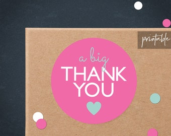 Pink Thank You Printable Stickers | Printable Thank You Stickers | Business Thank You Printable | Packaging Stickers | Poshmark Thank You