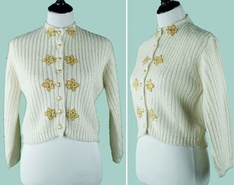 1950s Orlon Cardigan With Gold Flower And Pearl Embellishments - 50's Orlon Button Up Sweater - Size Large