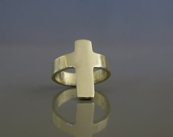 Sterling silver cross ring, Wide cross ring, Christian jewelry