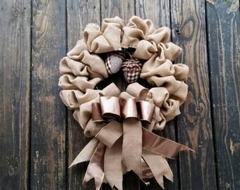 Christmas Wreath, Holiday Wreath, Burlap Wreath, Christmas Burlap Wreath with Acorns