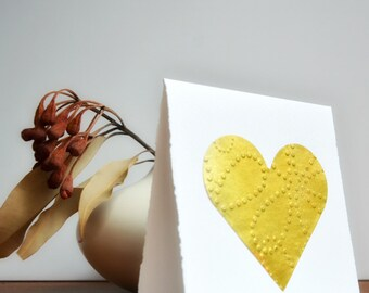 Gold Heart Gift   Embossed Heart Card   Gold Foil Card   Wedding Engagement   Valentine Card   Luxe Heart Card   Gold Leaf Heart Card
