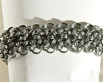 """Stainless Steel Bracelet Japanese Chainmaille 12 in 2 Chain Maille Mail 7 7/8"""" Bracelet"""