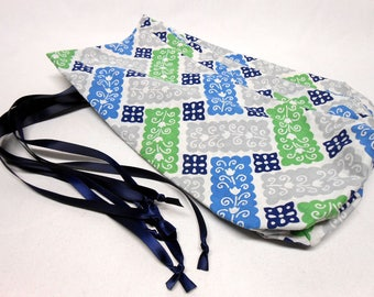 Hostess Gift Wine Bags Vintage Blue Green Grey Fabric Blue Ribbon Set of 4