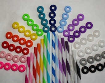 70 Colored Grommets for Use With Reusable Straws In DIY Mason Jar Cups or Tumblers, Hard to Find Food Grade Silicone Grommets in 14 Colors
