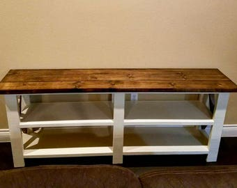 Rustic X farm console  table