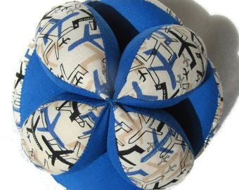 Blue airplane baby ball, Best baby shower gift, Baby clutch ball, cloth Amish puzzle ball, Sensory grab ball, Montessori toy, Tummy Time toy