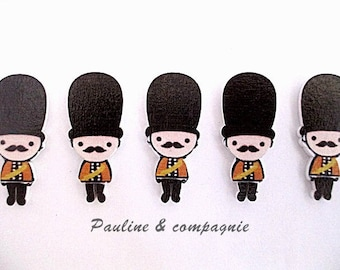 set of 4 characters embellishment wooden buttons keep English