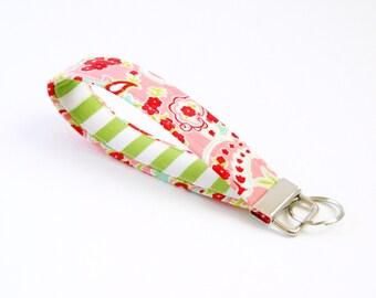 Pink Floral Fabric Key Fob with Green Stripe - 5 Inch Key Ring - Keychain - Cute Wrist Key Fob - Key Wristlet - Loop Key Fob - Coworker Gift